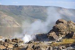 Hot springs at Lake Bogoria in Kenya. Royalty Free Stock Images