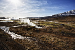Hot springs near Strokkur Geysir Stock Photo