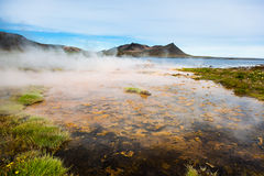 Hot springs next the sea, Iceland. Royalty Free Stock Photography