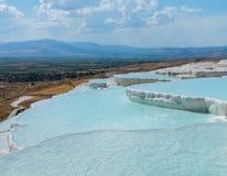 Hot Springs och kaskader på Pamukkale i Turkiet Arkivbild