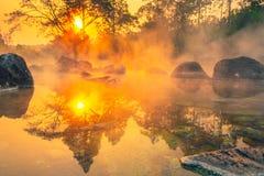 Free Hot Springs Onsen Natural Bath At National Park Chae Son, Lampang Thailand.In The Morning Sunrise.Natural Hot Spring Bath Royalty Free Stock Image - 173316546
