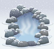 Hot springs onsen in snow winter Royalty Free Stock Image