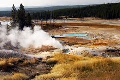 Yellowstone National Park, Wyoming, United States. Hot springs pool and geysers. Yellowstone National Park, Wyoming. United States royalty free stock photo