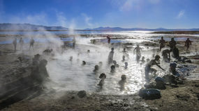 Hot springs in southern Bolivia. Hot springs in the altiplano, southern Bolivia Royalty Free Stock Photos