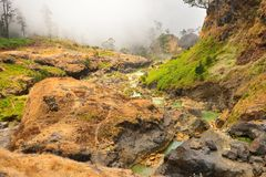 Hot springs with yellow water near Mount Rinjani volcano Royalty Free Stock Image