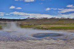 Hot steam coming from the boiling water in the central Iceland in the geothermal area of Hveravellir Stock Photo