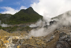 Hot Steam by Geothermal. Hakone, Japan. The smelly hot steam is coming from underground thermal springs Stock Photos