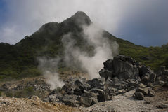 Hot Steam by Geothermal. Hakone, Japan. The smelly hot steam is coming from underground thermal springs Royalty Free Stock Images
