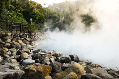 Hot steam at thermal valley. Beitou, Taipei, Taiwan Stock Photo