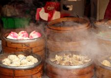 Hot Steamers with Dim Sum Dishes Stock Photography