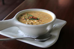 Hot,steaming bowl of creamy seafood chowder Royalty Free Stock Photography