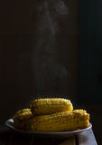 Hot steaming corn Stock Photo