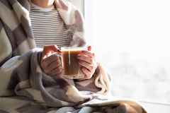 Hot steaming drink in woman`s hands. Female covered in throw bla. Nket sits by the window with cup of hot cocoa royalty free stock image