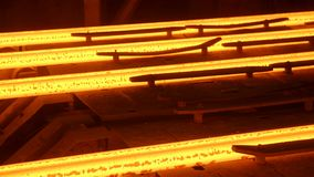 Hot steel billets continuous casting at a metallurgical plant stock video footage