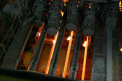 Hot steel in continuous casting machine. royalty free stock photo