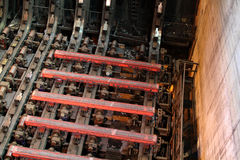 Hot steel in continuous casting plant. stock image