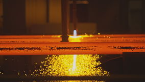 Hot steel on conveyor stock footage