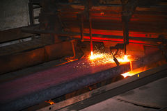 Hot steel from oven Royalty Free Stock Photography