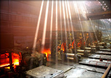 Hot steel sheet production Royalty Free Stock Photos