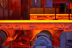 Hot steel slab heated. In furnace Royalty Free Stock Images