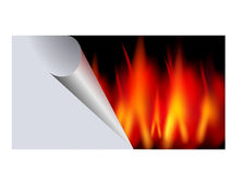 Hot sticker - advertisement - big sale. Abstract image of the fire sticker - big sale - advertisement Stock Photo