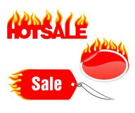Hot stickers. Set of red vector labels on a white background Stock Photo