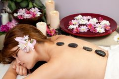Hot stone massage Royalty Free Stock Photography