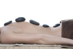 Hot stone massage. End white bakground stock photo