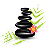 Hot Stone Massages and bamboo leaf Royalty Free Stock Photography