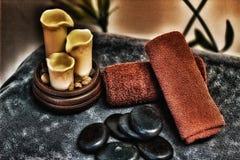 Spa relaxation hot stone massage stock photography
