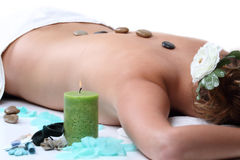 Hot stone therapy Stock Image