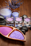 Hot stones and lavender minerals Royalty Free Stock Photography