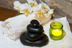 Hot stones stacked in natural wellness enviroment Royalty Free Stock Photography