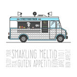 Hot street food mobile truck. Sell burgers out of the car, the concept of Bon appetit. Vector illustration for your design Stock Photo