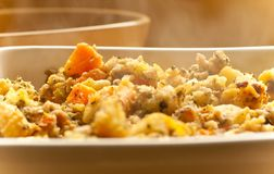 Hot Stuffing. Dish of steaming hot stuffing for Thanksgiving and Christmas Stock Photos