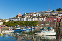 Hot summer of 2013 boats in harbour Brixham Devon England Stock Photography