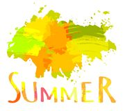 Hot Summer Background With Bright Color Brush Splash. Vector Vector Illustration