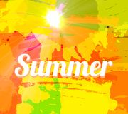 Hot Summer Background With Bright Color Brush Splash. Vector Royalty Free Illustration