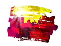 Hot Summer Background With Bright Color Brush Splash royalty free illustration