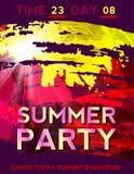 Hot Summer Background With Bright Color Brush Splash. Vector Stock Illustration