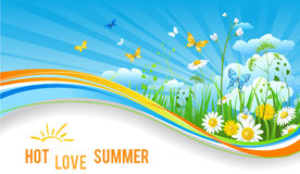 Hot summer banner. Nature template for design banner, ticket, leaflet, card, poster and so on vector illustration