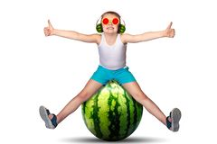 Hot summer. Children`s fantasies. Sweet juicy fruits. Children`s fantasies. Sweet juicy fruits.Hot summer royalty free stock images