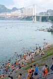Hot summer day. A hot summer day in city,people go swimming in the river.Liuzhou,China Royalty Free Stock Images
