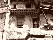 A hot summer day in Nepal Kathmandu. Local woman at her apartment in Nepal Stock Image