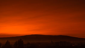 Hot summer. This day the sunrise was very hot spectacle with mazing red-orange colors Royalty Free Stock Images