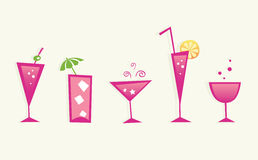 Hot summer drinks and cocktail glasses - VECTOR Royalty Free Stock Photo