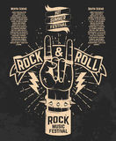 Hot summer festival. Human hand with rock and roll sign. Rock mu. Sic festival. Design element for poster, flyer, emblem, logo, sign.  Vector illustration Stock Image