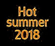 Hot summer 2018 flaming inscription on black Royalty Free Stock Images