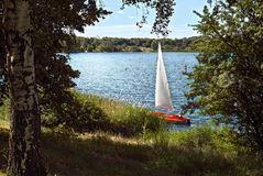 Hot summer in Germany-yacht on the lake in the vicinity of the city of Leipzig Germany and the park zone stock photos