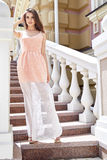 Hot summer girl beauty sexy lady wear fashion silk dress Royalty Free Stock Images